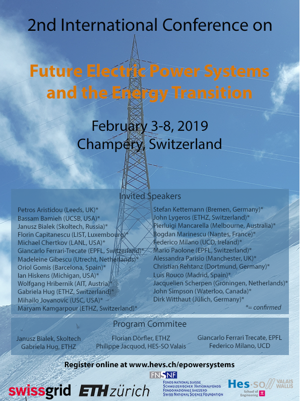 Flyer 2nd International Conference Future Electric Power Systems and the Energy Transition, Champery 3 to 8 2019